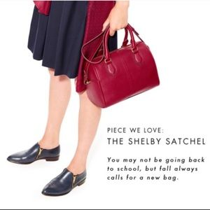 J Crew Shelby Satchel Red Leather New & Unused!